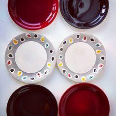 "Polubienia: 6, komentarze: 0 – modern (@modern_old2new) na Instagramie: ""Pottery set of 6 plates 6.88"" made in Norway by Inger Waage in 60s in Stavangerflint. 2 plates…"" Norway, Scandinavian, Burgundy, Pottery, Plates, Tableware, Modern, How To Make, Instagram"