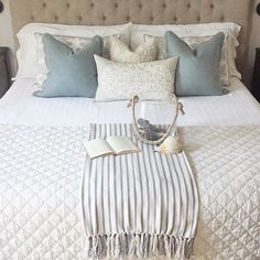 To me this feels like what summer should look like. With tons of textural neutrals, a subtle pop of muted blue, some driftwood from the beaches. Guest Bedrooms, Master Bedroom, Bedroom Decor, Summer Bedroom, Cottage Design, Beautiful Bedrooms, Driftwood, Beaches, Feels