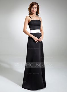 Bridesmaid Dresses - $99.99 - A-Line/Princess Floor-Length Satin Bridesmaid Dress With Sash (007001477) http://jjshouse.com/A-Line-Princess-Floor-Length-Satin-Bridesmaid-Dress-With-Sash-007001477-g1477