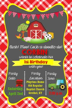 Farm or Barn theme First Birthday Invitation in size 4x6   I can design this or any other custom invitation for only $10. Contact me via email at aswiney01@yahoo.com or click on the image to view my facebook page. Check out my other designs. If you don't see something you like, just message me and I can make it for you.