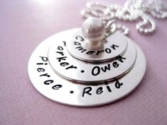 Mommy Jewelry  Hand Stamped Personalized Necklace  by BragAboutIt, $94.00