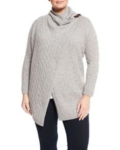 56261fa18bb Cashmere cable-knit drape front cardigan