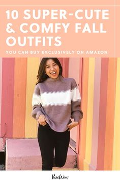 "The #FoundItOnAmazon discovery page is chock-full of trendy and (more importantly) comfy outfits that we'd be happy to rock this fall even if our ""plans"" involve sitting on the couch all day. Here are ten of our favorite looks that we'll be wearing from now until…at least December. #fall #outfits #amazon"