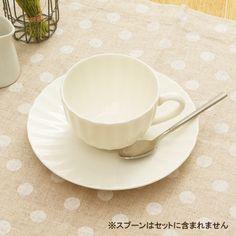 菊割コーヒー碗皿 ニューボーン (アウトレット)     <BR>白い食器/ティーカップ/受皿付き/ソーサー/コーヒーカップ/カフェ食器