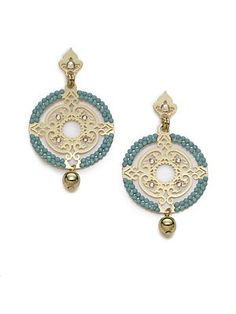 LK by Leetal Kalmanson   Turquoise Crystal Circle Filigree Earrings