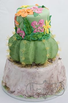 Cactus Wedding Cake nonpareilscake.com