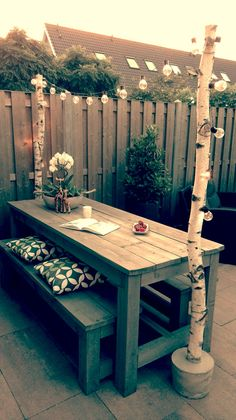 Garden Design Backyard - New ideas Backyard Projects, Outdoor Projects, Backyard Patio, Backyard Landscaping, Outdoor Dining, Outdoor Spaces, Dining Table, Patio Table, Outside Living
