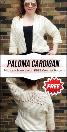 crochet Paloma Cardigan free pattern - easy crochet cardigan pattern for beginners Crochet Cardigan Pattern, Crochet Shirt, Easy Crochet Patterns, Crochet Stitches, Pattern Skirt, Sweater Patterns, Crochet Sweaters, Tunisian Crochet, Crochet Scarves