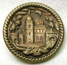 Vintage brass picture button