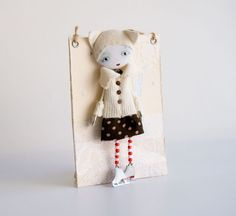Art Doll Brooch Cat Hat mixed media collage - by Miopupazzo