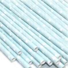 Pailles papier bleu étoiles blanches - Lot de 24  2.50