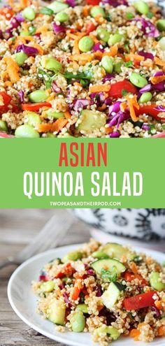 Recipes Quinoa A delicious and healthy salad bowl filled with red cabbage, carrots, cucumber, red pepper, and cilantro. Include this Asian quinoa recipe in your signature dishes for family bondings! Try it with tamari soy sauce to be gluten-free! Red Cabbage Salad, Cabbage Salad Recipes, Quinoa Salad Recipes, Quinoa Recipes With Soy Sauce, Recipes With Red Cabbage, Quinoa Recipes For Kids, Gluten Free Quinoa Salad, Vegetarian Quinoa Recipes, Quinoa Dishes