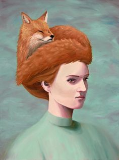 {Boldness and Grace}Anna Magruder painting . i love it a fox on her head! Fox Art, Woodland Creatures, Looks Cool, Fantasy Art, Art Gallery, Illustration Art, Artsy, Fine Art Prints, Panda