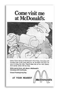 1971 McDonald's Santa Christmas Newspaper Ad