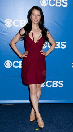 Lucy Liu Defies Age At CBS Upfronts In A Low-Cut Maroon Dress