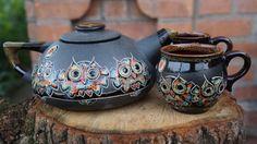 Black Owls tea set Teapot set Ceramic pottery Tea kettle Pottery mugs Wife gift Tea mug Mothers gift Housewarming gift Birthday Wedding gift Pottery Teapots, Ceramic Teapots, Pottery Mugs, Ceramic Pottery, Modeling Clay Recipe, Owl Kitchen Decor, Fox Decor, Tea Pot Set, Tea Mugs