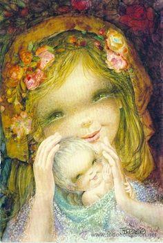 Virgen y niño - Ferrandiz - Ediciones Subi - N° 1850.1- Data 1975 - Díptica 17 x 11,5 cms.