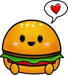 Hamburger by on DeviantArt Cute Little Drawings, Cute Kawaii Drawings, Colorful Drawings, Kawaii Stickers, Cool Stickers, Doodle Drawings, Easy Drawings, Hamburger Drawing, Doodles Kawaii