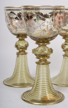 Six German enameled glass goblets. Fritz Heckert c. Late 19th century. : Lot 1128