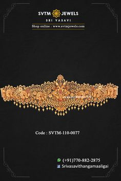 Make your fest traditional yet trendy with this gold oddiyanam/vaddanam prettified by floral designs, sculpt of peacock and with more intricate artwork. Diamond Jewelry, Gold Jewelry, Vaddanam Designs, Waist Jewelry, Waist Belts, Gold Girl, Emerald Necklace, Gold Jewellery Design, Gold Price