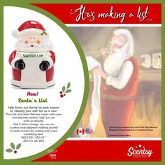 SCENTSY NEW! SANTA'S LIST WARMER: Available 10/16/2016 - While Supplies Last.