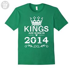 Mens Kings Are Born In 2014 T-shirt 3rd Birthday Gift Boy Vintage 2XL Kelly Green - Birthday shirts (*Amazon Partner-Link)