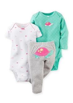 Carter's� 3-Piece Turtle Bodysuits and Pant Set