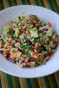 quinoa & avocado salad http://www.fatgirltrappedinaskinnybody.com/2011/08/quinoa-and-avocado-salad-with-lemon-tahini-dressing/