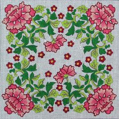 HP Needlepoint 18ct Pink Flowers with Greens - MA28 #Handpainted