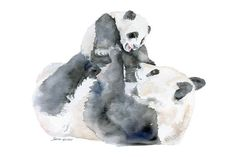 Panda Bears Watercolor Painting 6 x 4 - Giclee Print Reproduction - Nursery Art - Mother and Baby Animals