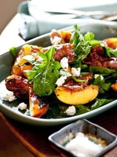 Grilled Peach Salad with Shaved Country Ham and Summer Herbs