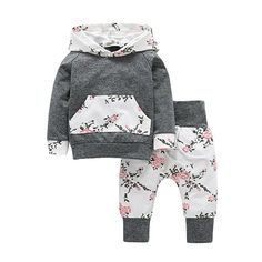 Kleinkind Babykleidung Set CLOOM Baby Jungen Mädchen Vintage langarm Hoodie Sweatshirt Elegant Blumenmuster Tops + Straight Leg stretch lang Hose 2pc Outfits (100, Grau): Amazon.de: Bekleidung