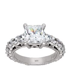 14K White Gold 3.01 cts Princess Cut Lab Created Engagement Ring $1869