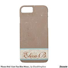 Phone iPad  Case Tan Blue Monogram Elegant  #phone #iPhone #iPad