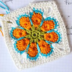 crochet flower granny square - video tutorial