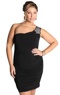 plus size one shoulder stone detail club dress - homecoming