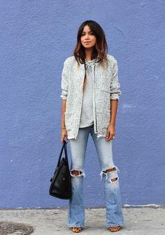 Jacket: Mango     Sweater top: Anine Bing     Jeans: A (old)     Pumps: Madewell     Bag: Celine