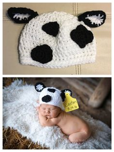 Baby Beanie Crochet Pattern, Newborn Crochet Patterns, Crochet Cow, Baby Hat Patterns, Crochet Baby Hats, Cow Hat, Newborn Hats, Baby Cocoon, New Baby Products