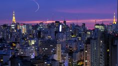 Travel by Color: Purple sunset over Sao Paulo, Brazil. I enjoyed many layovers here in Sao Paulo! Visit Brazil, Sao Paulo Brazil, Paulistano, Managua, Brazil Travel, Montreal Canada, World Cities, South America Travel, Round Trip