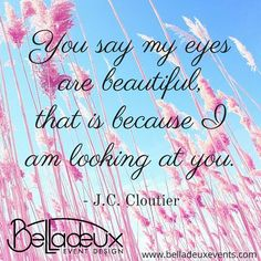 You say my eyes are beautiful, that is because I am looking at you. - J.C. Cloutier
