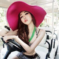 Hot Brim Summer Folding Straw Wide Sun Floppy Hat Women s Cap Beach Large  Big Hats 6ec1632f5798