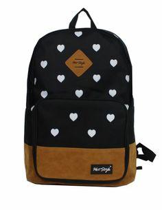 Wingler Fashion Colorful Cartoon Heart Unisex Canvas Shoulder Bag Handbag School Bag Backpack #Amazon