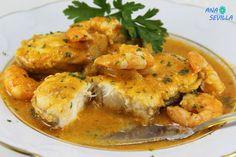 Rape en salsa América Spanish Cuisine, Spanish Tapas, Fry Baby, Shrimp, Seafood, Fries, Appetizers, Snacks, Meat