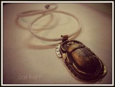 Scarab Resin and Brass Pendant