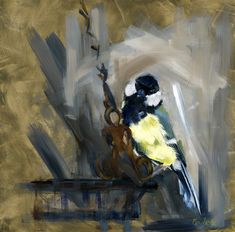 Peek a Boo by Paulette Farrell Great Tit, Bee Art, Bird Drawings, Peek A Boos, Painting & Drawing, Bird Paintings, Sketches, Birds, Panel Art