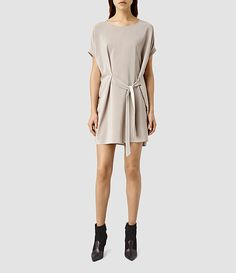 Womens Sonny Silk Dress (Taupe) - product_image_alt_text_1