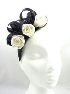 Black and white fascinator hat sinamay by SpiritofHarlequin