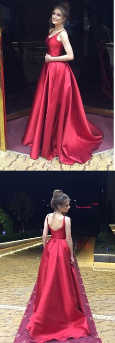 Red A-Line Long Prom Dress,Simple Satin Evening Dress #red #satin #simple #aline #long #prom #okdresses #reddress