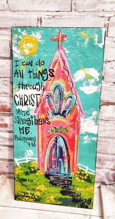 Bright and whimsy! I love painting these churches. Make your soul smile! Love Painting, Painting & Drawing, Rustic Painting, Diy Canvas Art, Painted Canvas, Canvas Ideas, Canvas Artwork, Christian Paintings, Christian Artwork