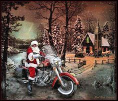 'The Clause' Santa on his Harley Merry Christmas, Christmas Scenes, Winter Christmas, Christmas Stuff, Christmas Artwork, Modern Christmas, Christmas Ideas, Christmas Cards, Harley Davidson Quotes